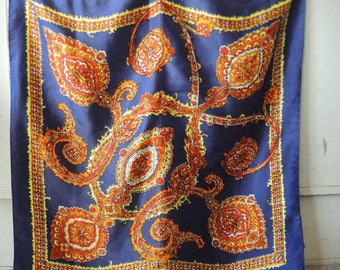 vintage 1970s scarf acetate satin paisley navy blue  26 x 27 inches