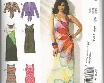 McCalls 6559 new uncut size 6 - 14 womans pieced dress and tie front jacket knits only
