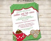 SALE Cookies & Hot Cocoa PRINTABLE Holiday Christmas Cookie Party Invitation