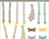 SALE - Suspenders and Ties Clipart Set -Personal and Limited Commercial Use- teal suspenders, brown bowtie, striped tie clip art