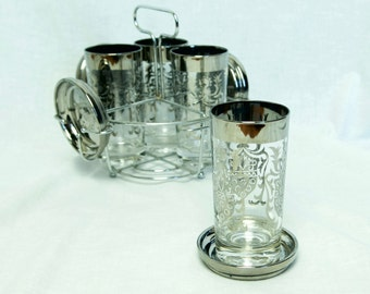 Vintage Kimiko glass and coaster set with caddy...Mid Century mercury glass highball caddy set...Guardian...Silver Crest...Coat of Arms.