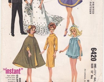 """1962 Original Vintage BARBIE Doll Wardrobe Sewing Pattern 11 1/2"""" 12"""" Doll Clothing, Ken Tuxedo - 12 Outfits [McCalls 6420] Partly Cut"""