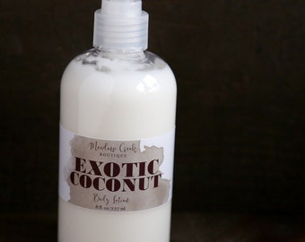 Exotic Coconut Body Lotion - Handmade in Alaska, Hand Lotion, Moisturizer, Gifts for Her, Beeswax Lotion, Gift for Her, Valentine's Day Gift
