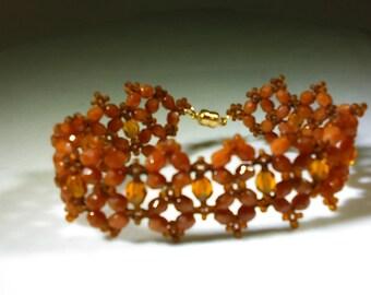 Autumn Beadwoven Bracelet, Fits 7.25 Wrist, Fall Bracelet