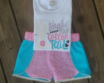 Girls Easter Outfit/Shake Your Cotton Tail Shirt/ Easter Outfit/Bunny Shirt