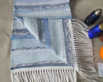 """Table Runner,  Blue  and  White.. Elegant table rug,   total length 42"""", 12""""wide handwoven at home  by Martha"""
