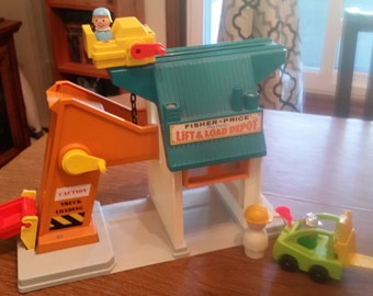 Vintage Fisher Price Lift & Load Depot Playset with Accessories