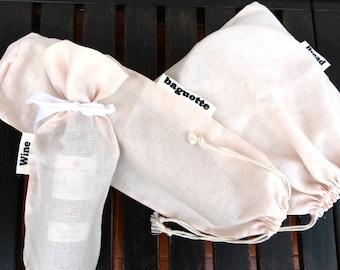 Bread linen bag, baguette linen bag, wine linen bag,