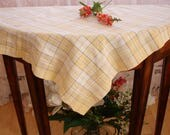 Table cover, Table topper, French Country table cover, French country table topper, Checkered table cloth, Square, yellow, white and gray,