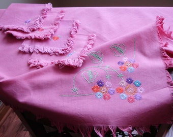 Linen Embroidered Tablecover with matching napkins, Set of five table linens, Pink table cover, Tea napkins and tablecover, Fringe edging