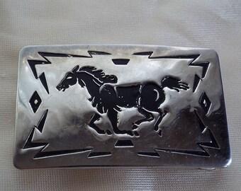 USA Chambers Belt Co Running Mustang Horse Belt Buckle