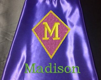 Super Hero kid's Cape,  Monogram Diamond Shield Superhero Cape, Girls Cape, Purple  Embroidered Personalized