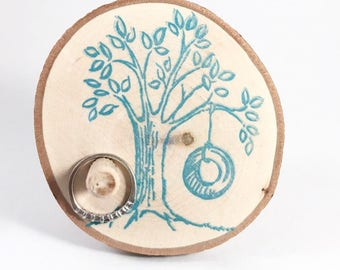 Ring Holder - wood ring stand - tire swing