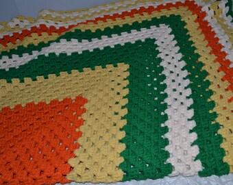 Vintage Green & Orange Afgan Throw ~ Crochet Lap Blanket ~ Retro Hippie Throw ~ Epsteam
