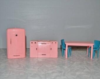 Plasco Pink Dollhouse Kitchen Set ~ Vintage Dollhouse Furniture ~ Epsteam