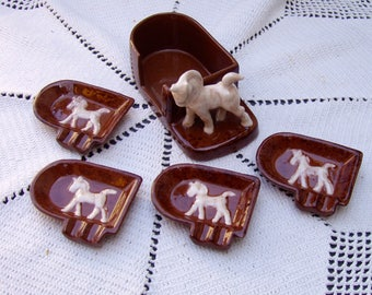 VINTAGE Horses Ceramic Ashtray Set . Made in Japan c1950s