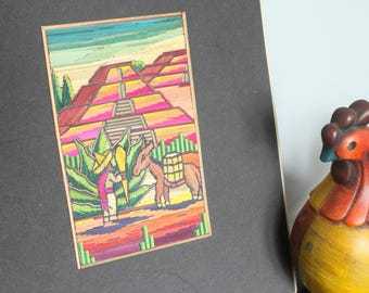 Vintage Southwest/ Mexican/ South American Painted stick art/ Mexican Folk Art /man and burro and temple/hand made folk art