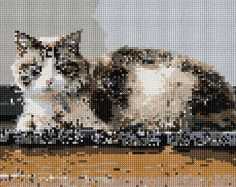 Needlepoint Kit or Canvas: Cat On Wood