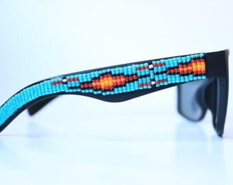 Polarized Oversized Black matte Frame Hand Beaded Sunglasses - Native American Handcrafted