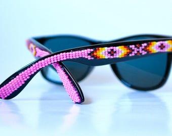 Hot Pink Beaded Black Wayfer Frames