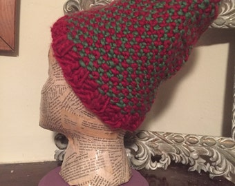 Red and Green Handknit Hat