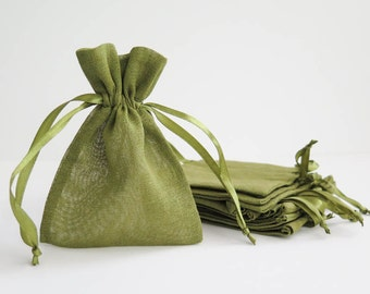 "Cotton Muslin Bags - Moss Green | Small Drawstring Muslin Pouches, Gift Bags, Favor Bags for Weddings (4""x5"")"