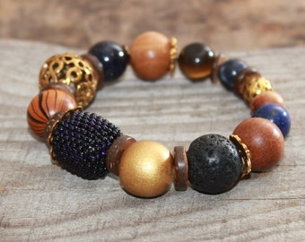 Mixed bead bracelet , Beaded gemstone bracelet , Boho chic , Bohemian bracelet  Nature bracelet  Rustic bracelet  Everyday Starry night