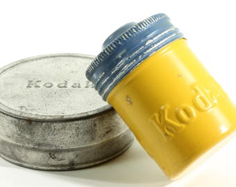 Eastman Kodak Company Little Metal Vintage Film Canister - Blue and Yellow