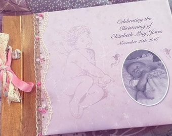 Girls Christening Guestbook Album - Pink and Ivory