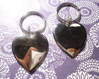2 Silverplated His and Hers Heart Key Rings