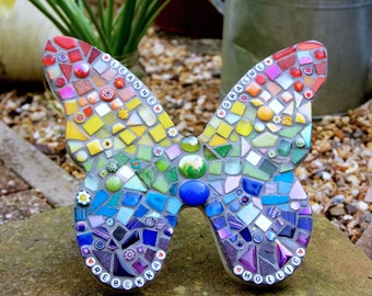 Personalised Butterfly Rainbow Garden ornament, memorial plaque, yard art, wall plaque, mosaic butterfly, outdoor decorations, unique gift
