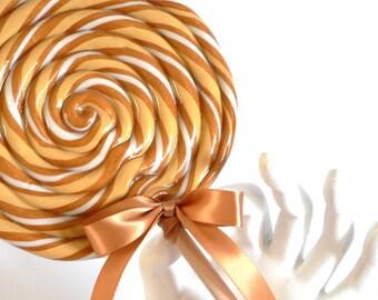 BIG Fake Lollipop Gold Butterscotch Swirl Lollipop