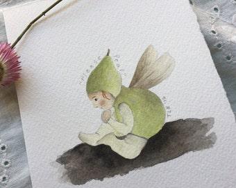 Please Pear - mini original watercolour fairy painting
