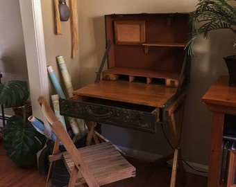 Vintage Suitcase Desk, Campaign Desk, Trunk Desk, Suitcase Table, Writing Desk