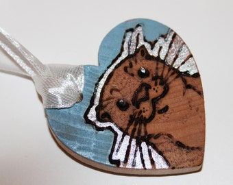 Pyrography Wood Burning -  Otter Love Token - Pastel Blue - Wooden Heart Gift