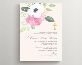 Christening Invitation \ Baptism Invitation \ Holy Communion \ Girl Invitation \ Printable Invitation \ Watercolour (CR49)