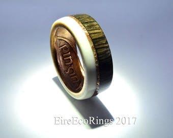 Bog Oak wedding band engagement ring, Irish wedding ring..