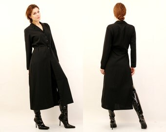 90s Black Dress / Black Long Shirt / Black Long Dress / Button Up Dress / Maxi Shirt / Large Black Shirt / Large Black Dress / Goth Dress
