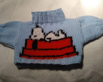 Hand Knitted Sweater with Snoopy lying on his Kennel to fit Build a Bear animals