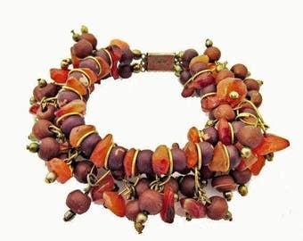Carnelian Gemstone cha cha bracelet - brass - Orange Brown seeds - Boho bangle