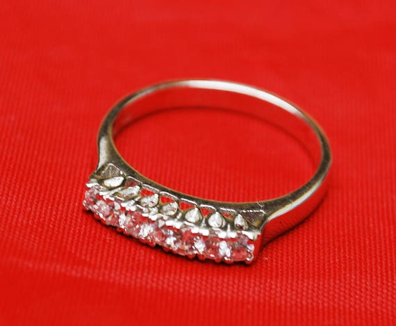 Sterling Cubic Zirconia Ring - Size 11  - multi stone Band Ring   - signed ND  -