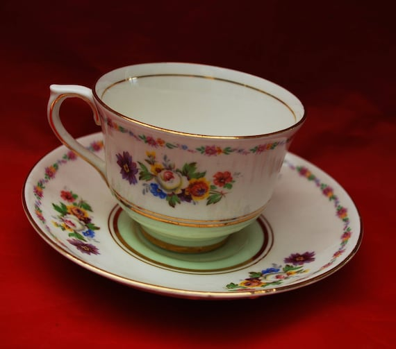 Colclough Tea cup and saucer Fine Bone China Floral