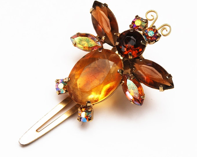 Amber Rhinestone Bug hair clip - Vintage barrette - Signed Japan - Brown orange crystal bobby pin