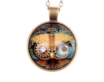 Necklace Owl steampunk 2525C