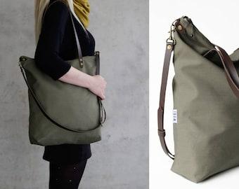 tote bag, cross body bags, olive green, leather strap dark brown,handmade shoulder bags, womens handbag