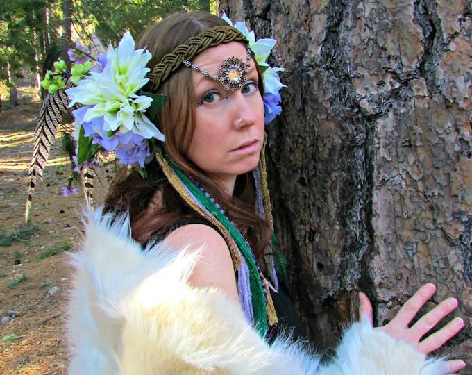 Green Goddess Headdress, Feather Headdress, Flower Headdress, Extra Long Feather Headband, Festival Wear, Cosplay, Photo Shoot, Wedding