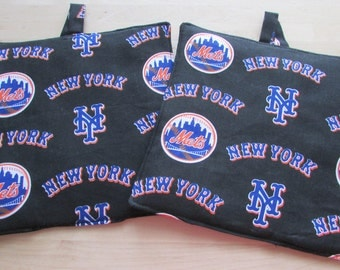 New York Mets  handmade Pot Holders / Hot Pads set of two