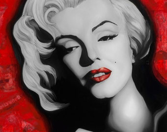 "Marilyn Monroe 5""x7"" Unframed Art Print by Jamie Rice- Desk Art, Iconic, Classic, Retro"
