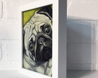 "Pug 5""x7"" Framed Art Print by Jamie Rice- Desk Art, Wall Decor"
