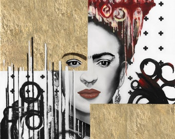 "Frida Kahlo, 11"" x 14"" Fine Art Print, Feminist, Iconic, Gold, Emotional, Satire, Wall Art, Statement"